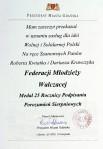 """1 - Dokument nadania medalu 25 lecia """"S"""" dla FMW"""
